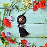 Kľúčenky - S vážkou - vyšívaný střapec na kabelku - 9567011_