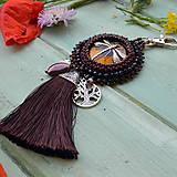Kľúčenky - S vážkou - vyšívaný střapec na kabelku - 9567013_