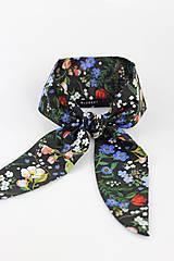 """Šatky - Dámska čierna kvetinová šatka """"Garden noir"""" - 9564016_"""