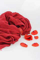Veľký červený ľanový pléd/ šatka s koženým remienkom