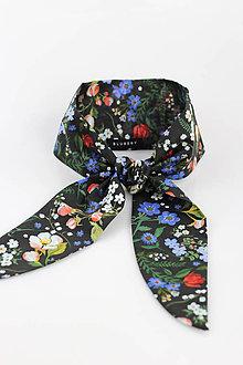 Šatky - Dámska čierna kvetinová šatka