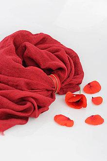 Šatky - Veľký červený ľanový pléd/ šatka s koženým remienkom - 9565339_