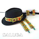 Set - pánsky klobúk, folklórny motýlik a traky - žltý, čierny - folk - Rôzne farby