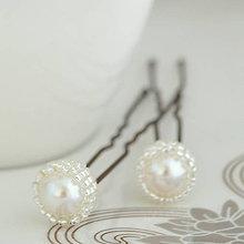 Ozdoby do vlasov - Svadobné vlásenky perlové (Biela Swarovski perla) - 9565818_