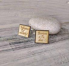 Šperky - Manžetové gombíky s textom prírodné (hranaté) - 9565468_