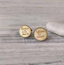 Šperky - Manžetové gombíky s textom prírodné (okrúhle) - 9565470_