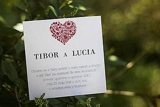 Papiernictvo - Svadobné oznámenie - Srdce - 9564162_