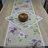 Úžitkový textil - Jarný s fialovou - stredový obrus 135x38 - 9566154_