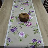 Úžitkový textil - Jarný s fialovou - stredový obrus 135x38 - 9566155_