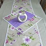 Úžitkový textil - Jarný s fialovou - stredový obrus 135x38 - 9566157_