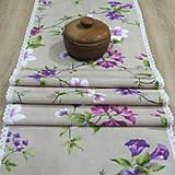 Úžitkový textil - Jarný s fialovou - stredový obrus 135x38 - 9566160_