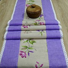 Úžitkový textil - Jarný s fialovou - stredový obrus 155x40 - 9563821_