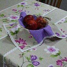 Úžitkový textil - Jarný s fialovou - obrus štvorec 45x45 - 9566807_