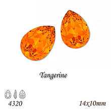Korálky - SWAROVSKI® ELEMENTS 4320 Pear Rhinestone - Tangerine, 14x10, bal.1ks - 9566795_