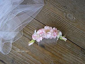 Ozdoby do vlasov - svadobný hrebienok..pudrový pink - 9566800_