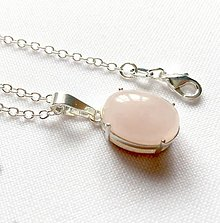 Náhrdelníky - Elegant Silver Oval Rose Quartz Necklace AG925 / Strieborný náhrdelník s ruženínom /0204 - 9568716_