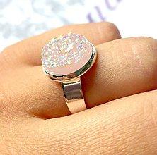 Prstene - Rose Druzy & Silver Ring / Prsteň s ružovým drúzovým kabošonom /0203 - 9568874_