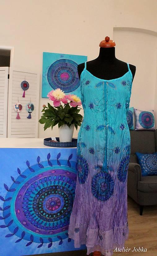 Hedvábné šaty Tyrkys - lila   jobka - SAShE.sk - Handmade Šaty 64deb3e232