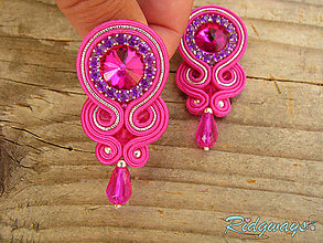 Náušnice - Simple teardrop...soutache (Fuchsia/Silver) - 9569531_