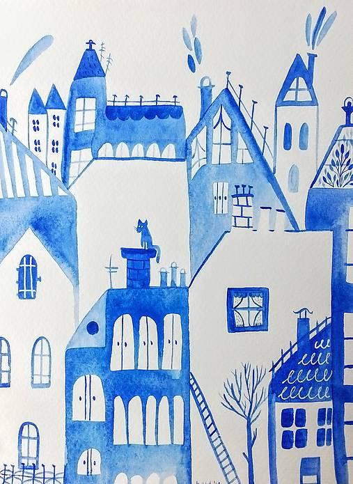 Mesto modré originál maľba /ilustrácia