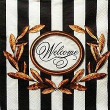 Papier - S1217 - Servítky - prúžky, vitajte, welcome, ornament - 9568692_