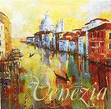 Papier - S1218 - Servítky - domy, Benátky, Venezia, gondola, kostol - 9568803_