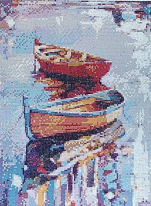 Obrazy - Farebné loďky - 9569085_