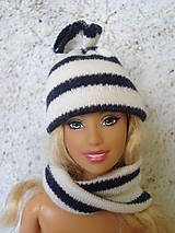 Hračky - Barbie, Ken - bieločierna pruhovaná čiapka - 9568377_
