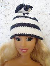 Hračky - Barbie, Ken - bieločierna pruhovaná čiapka - 9568378_