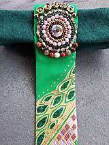 Iné doplnky - Princezná na hrášku-maľovaná a vyšívaná dámska kravata - 9569398_