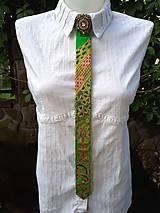 Iné doplnky - Princezná na hrášku-maľovaná a vyšívaná dámska kravata - 9569413_