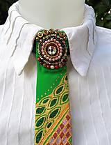 Iné doplnky - Princezná na hrášku-maľovaná a vyšívaná dámska kravata - 9569414_