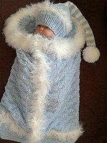 Textil - Pleteny vak s čiapočkou -kožušinkou - 9568004_