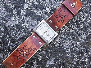 Náramky - Hnedý kožený remienok s hodinkami NATURAL - 9570488_