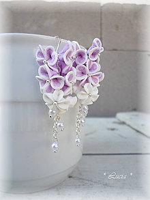 Náušnice - Srdiečkové kvetinky orgovánové - 9568572_