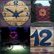 Hodiny - Dekoracia drevene hodiny / LED / 90cm - 9570820_