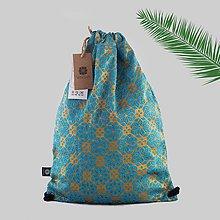 Batohy - Brokátový hviezdičkový svetlomodro-zlatý batoh / ruksak VINITHA 34 - 9571022_