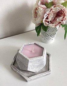 Svietidlá a sviečky - Betónová sviečka s podstavcom - 9568373_