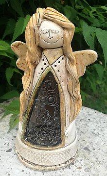 Svietidlá a sviečky - Anjel svietnik s cínom III. - 9568390_