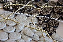 Korálky - Slza vintage béžová-zlato, 0.25€/ks - 9568657_