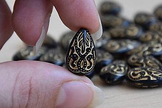 Komponenty - Slza vintage čierna-zlatá - 9568641_