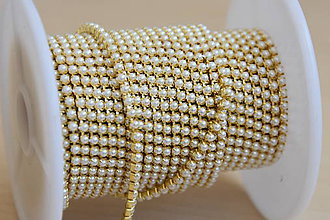 Galantéria - Borta zlatá-perly 2mm, 0.40€/10cm - 9568722_