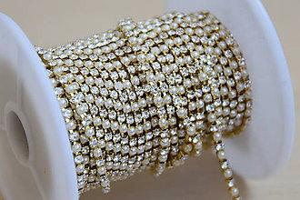 Galantéria - Borta zlatá - perly a štras 2mm, 0.45€/10cm - 9568735_