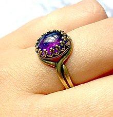 Prstene - Amethyst & Bronze Ring / Bronzový vintage prsteň s ametystom /0202 - 9572134_