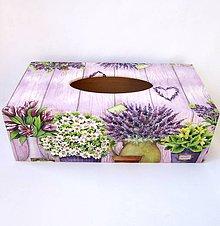 Krabičky - Krabica na papierové vreckovky- levanduľová - 9571988_