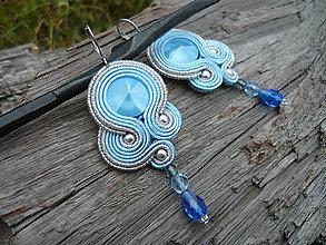 Náušnice - Soutache náušnice Modré...Crystal Sommer Blue - 9572478_