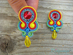 Náušnice - Simple teardrop...soutache (Color explosion) - 9573274_