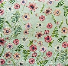 Papier - S1221 - Servítky - kvety, kvetinky, flowers, papradie, vintage - 9572022_