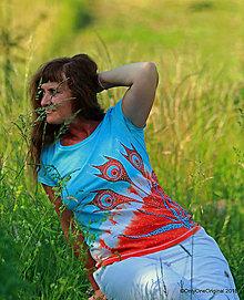 Tričká - Dámske tričko batikované, maľované ŠŤAVNATO - 9572497_