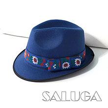 Čiapky - Folklórny klobúk - modrý - ľudový - 9572866_